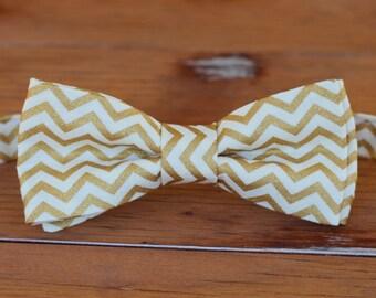 Boys gold chevron bow tie - boys gold cream chevron cotton bowtie, first birthday bow tie, smash cake bow tie, new years eve party bow ties