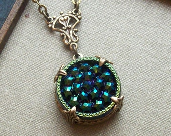 Vintage German Glass Button Necklace, Starry Night, Style 02