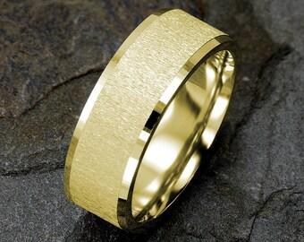Yellow gold Wedding Band, 14K Gold, Brushed Mens Wedding Ring, 8mm Mens ring, Wedding Band Mens, Solid Gold Mens Ring, Custom Engraved Ring