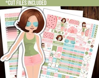July planner stickers, Summer planner stickers, Erin Condren planner stickers, Weekly stickers, Fashion stickers -STFS003