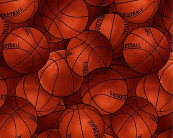 Basketball Fabric, Sports Fabric: David Textiles Packed Sports - Basketballs Allover, Basketball Premium   100% cotton Fabric (DA27)