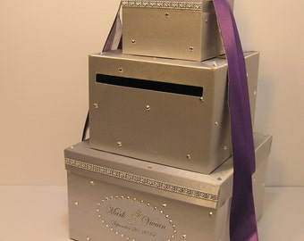 Wedding Card Box Silver and Purple Gift Card Money card Box Holder-Customize your color
