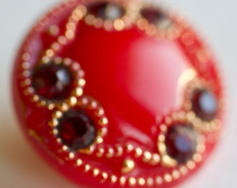 Red Glass Button with Deep Red Jewels