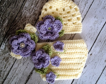 The Sofia Flower Beanie in Purple, Ecru and Celery Green with Matching Diaper Cover and Headband Available in Four Sizes- MADE TO ORDER
