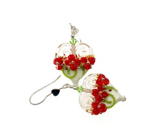 Lampwork Earrings, Red Flower Heart Earrings, Glass Bead Jewelry, Floral Glass Bead Earrings, Beadwork Christmas Earrings, Lampwork Jewelry