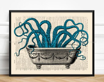 Octopus Bathroom Decor Bathroom Wall Decor Bathroom Wall Art Funny Bathroom Art Bathroom Sign Bathroom Wall Decor Rustic Bathroom Art 521