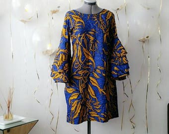 African Print Flare Sleeve Dress