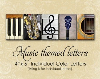 Music Themed Letter Photos, Individual 4x6 Color Alphabet Photography, Musical Instrument, Unique Music Gift