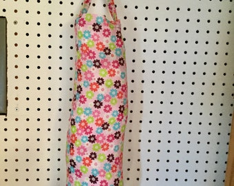 Pink with Mulit-Colored Flowers Plastic Bag Holder