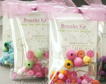 SALE: 5 Girls DIY Bracelet Kits in clear cello packaging, Great as Party Favors or Stocking Stuffers