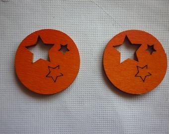 Wooden embellishment, with stars orange Christmas ball.