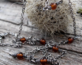 Amber sterling silver layering necklace