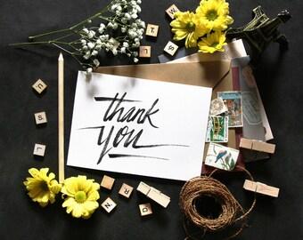 THANK YOU   Appreciation   Typographic Printable Art   Handwritten Type   Digital Card Download   5 x 7