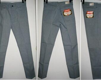 Vintage Deadstock 1960's LEVI'S Big E Peg Leg Tapered Plaid Sta Prest Jeans Pants Ivy League Slacks 29X29, measures 28x28 Floods NOS