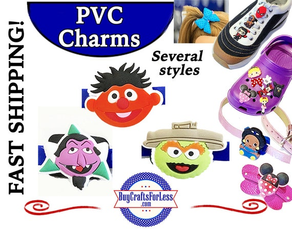 PVC Charms, SESAME STReeT *20% OFF Any 4 PvC Charms* 1.99 Shipping *For Shoes, Hair, Pins-Choose back-Button, Pin, Slider, Hair Clip, Velcro