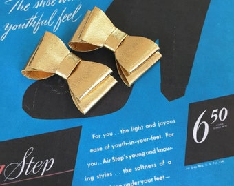 Gold Faux Leather Shoe Clips