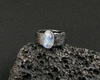 Sterling Silver Oxidised Rainbow Moonstone Ring