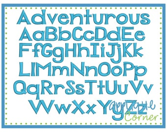 INSTANT DOWLOAD 1823 Adventurous Font in bx, pes and dst only digital design for embroidery machine by Applique Corner