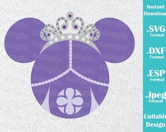 Descarga inmediata SVG Disney inspirado en Princesa Sofía que el primer Mickey orejas Dxf de Svg, Esp, máquinas de corte y la silueta de Cricut de formato Jpeg