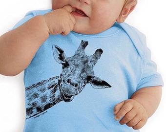 Giraffe baby onesie bodysuit.  Baby shower gift for new baby.