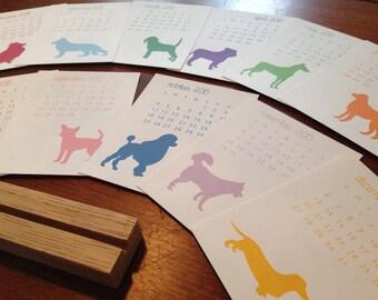2018 Desk Calendar, Silhouette Dogs, Dog calendar, Puppy calendar, Calendar Gift