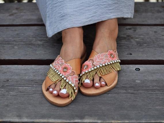sandals Leather sandals Sandals Greek luxurious Embellished sandals handmade sandals sandals gold Boho