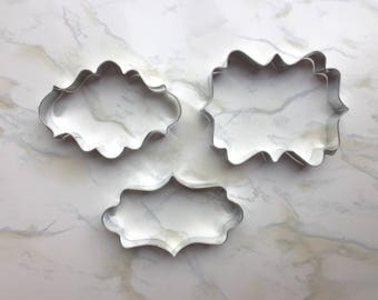 Plaque Cookie Cutter Set - Set of 3 - Scroll - Photo - Fancy