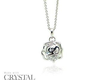 SPARKLE ROSES Swarovski Elements Crystal 18-KRGP White Gold Plated Fashion Holiday Gift  Wedding Bridesmaids Necklace