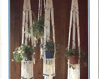 Macrame Book • 1970s Terrarium Holder Knots • Learning Macramé • How To Instruction Pattern Pot Hangers • 70s Vintage Hanger Knot Retro PDF