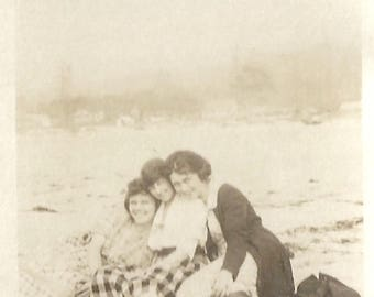 "Vintage Snapshot ""Beach Bonfire"" Girlfriends On The Beach Found Vernacular Photo"