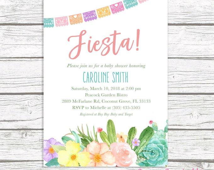 Cactus Baby Shower Invitation, Fiesta Baby Shower Invitation, Mexican Cinco de Mayo Invite, Succulent Baby Shower, Floral Cactus Printable