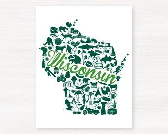 Green Bay, Wisconsin Landmark State Giclée Map Art Print - 8x10 - Graduation Gift Idea - Dorm Decor