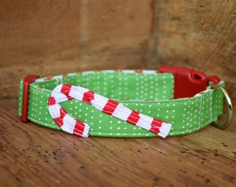 Candy Cane Dog Collar - Christmas Green Dot/Stripe with Candy Cane