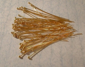 Ball Head Pins, Copper, Gold Plated, 45mm, .5mm, 50 pcs  PHHP45-GP