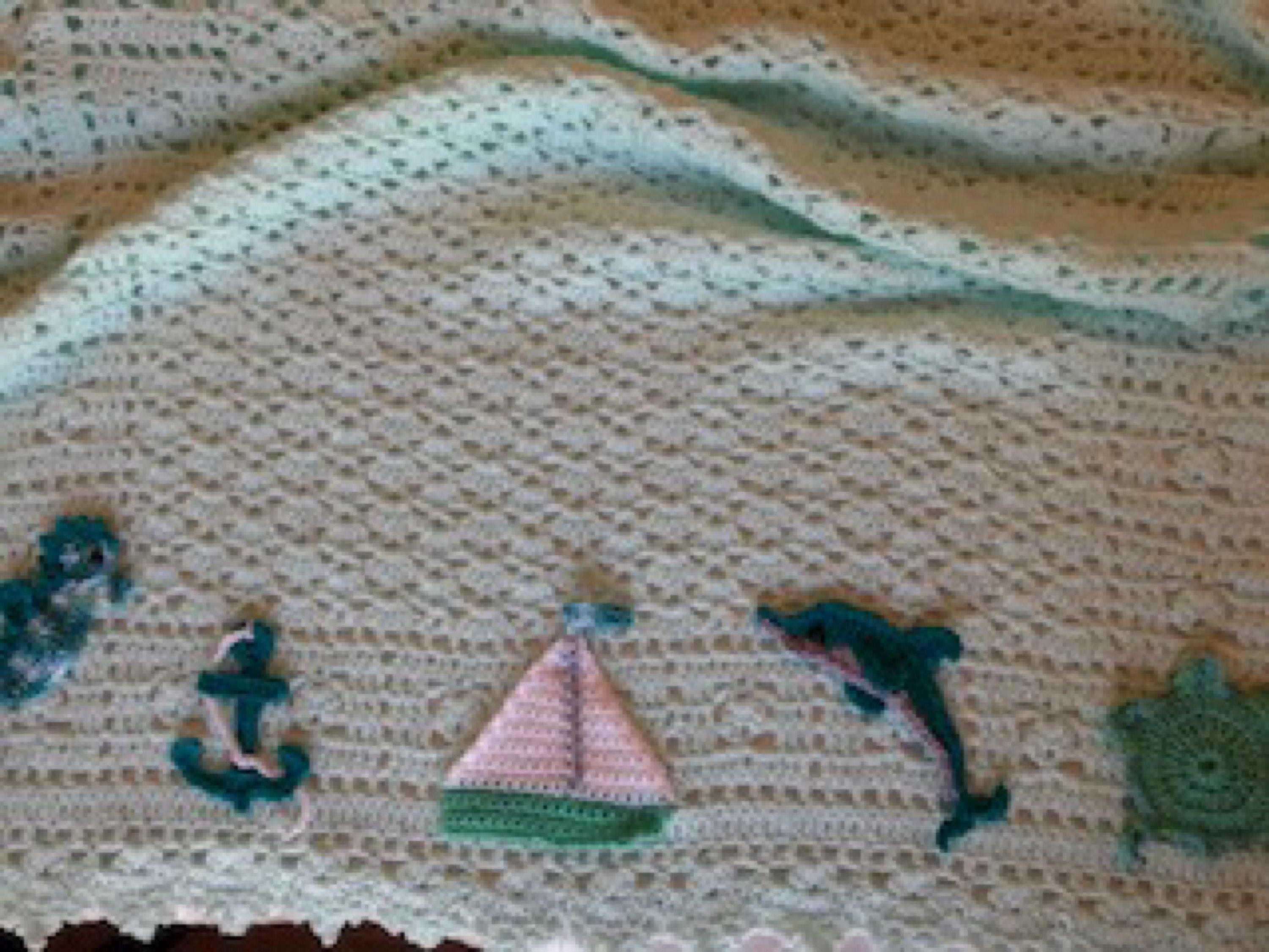 Crochet sea turtles baby blanket, nautical, ocean, sea animals ...