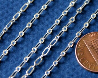 10 ft  of Silver plated long and short chain 4X2mm - Soldered LInks