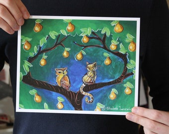 Owl and Cat in a Pear Tree; Fine Art Print