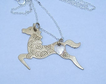 Prancing  Horse  Mixed Metal Necklace M102