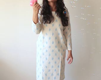 Miss Nice, Ivory and Blue Ikat Dress