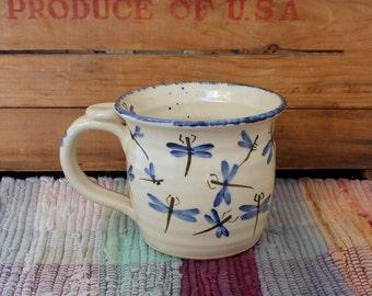 Blue dragonflies handpainted pottery coffee cup - 15 oz - large ceramic mug - handmade ceramic decorative cup - pottery mug - mdf2611