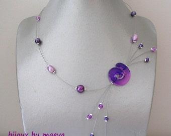 Bijoux fantaisie violet collier Etincelles perles et torsade violet