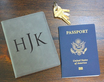 Engraved Passport cover - Monogrammed Passport Cover - Leather passport cover - Passport case - Personalized passport cover, PC107