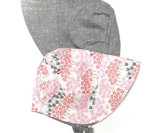 UB2 CENTERED pink teeny tiny floral liberty of london inspired with gray linen polka dots infant toddler sun hat, Urban Baby Bonnets