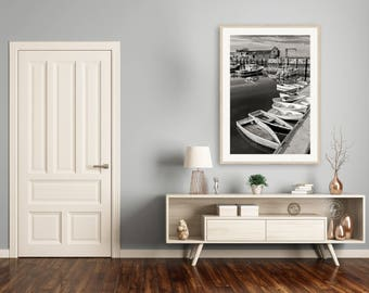 Black White Nautical Photography, Motif #1 Photo, Rockport Harbor MA, Large Vertical Rowboats Print, Cape Ann, Maritime Fishing Village Art