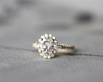 Oval Moissanite engagement ring, 6x8 oval halo ring, yellow gold wedding ring