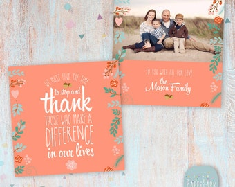Thanksgiving Card - Thank You Card - Photoshop Template - AT004 - INSTANT Download