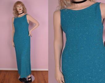 90s Aqua Glitter Maxi Dress/ US 10/ 1990s/ Tank/ Sleeveless/ Prom/ Evening/ Formal