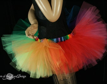 Rainbow run Adult tutu skirt Mini micro Peek a boo style dance roller derby costume pride runner - You Choose Size - Sisters of the Moon