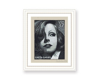Greta Garbo Postal Stamp-Cross Stitch Pattern-Modern Sampler-Pdf-Instant Download