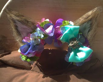 Furry Wolf Ear Flower Crown Headband
